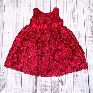 Holiday Editions Red Sequined Rosette Dress 18 Mon